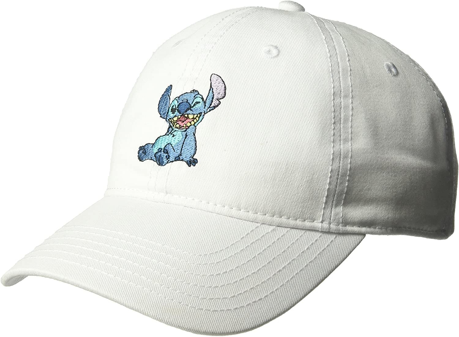 a white baseball hat with a stitch patch on the front