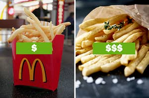 A serving of McDonald's fries on the left and a serving of gourmet restaurant fries on the right