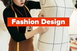 """fashion design"" over a woman measuring a mannequin"