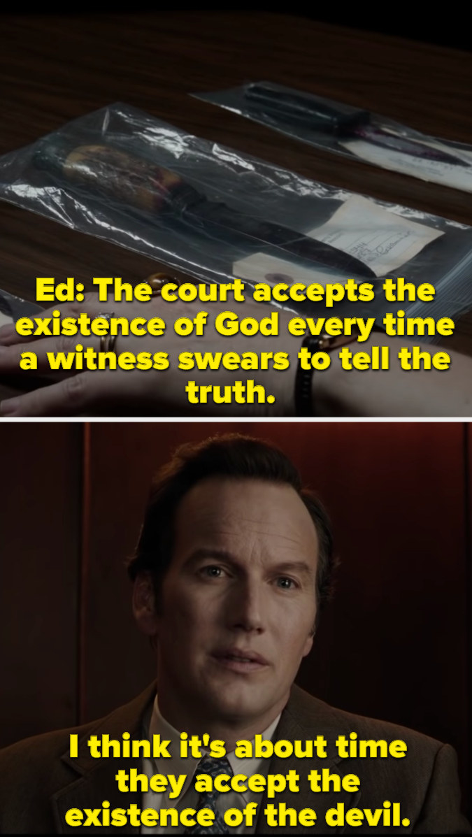 Ed saying that if the court can accept the existence of God, then they can accept that the devil exists too