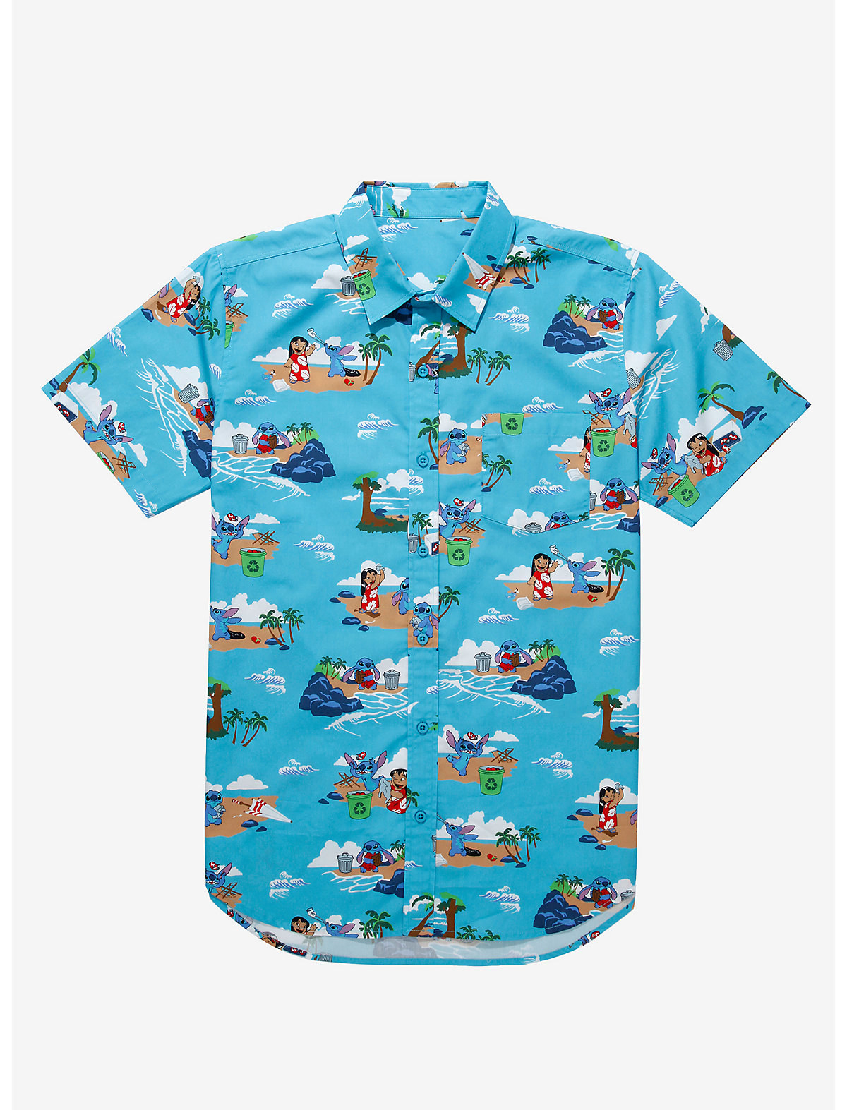 a hawaiian button down shirt with lilo and stitch all over it at the beach