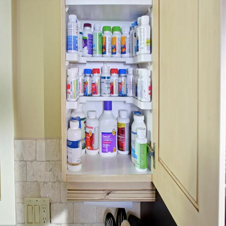 Spicy Shelf used to organize medicine cabinet