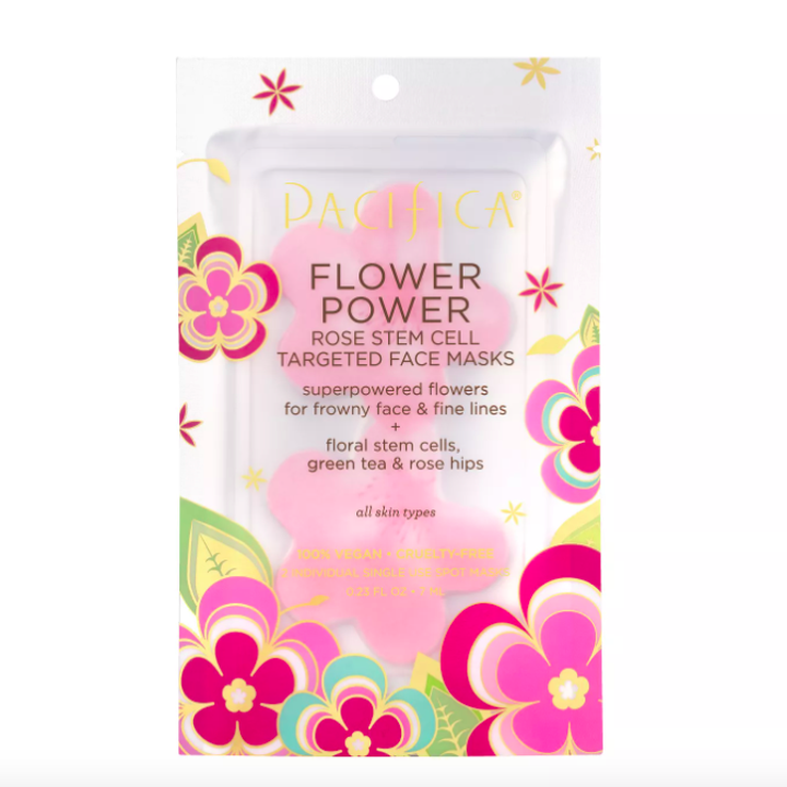 The pack of Pacifica Flower Power Rose and Peptide Targeted Sheet Face Mask
