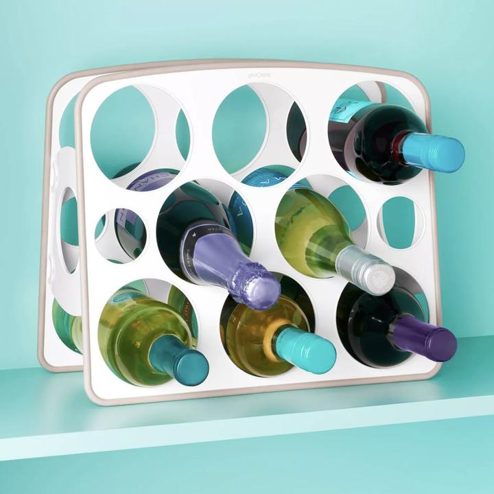 Wine bottles placed in wine organizer