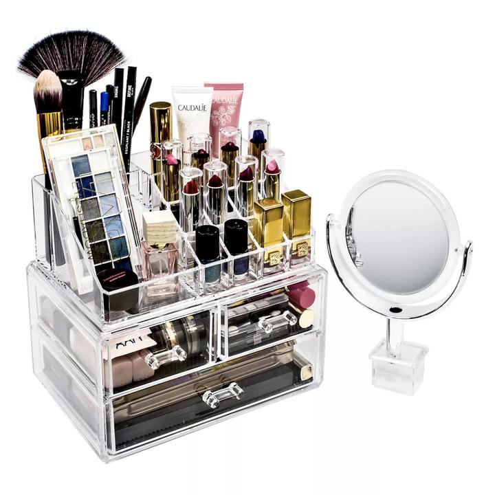 Makeup organizer filled with various items