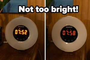 """a clock before and after a dimmer sticker is placed over the screen, with the text """"not too bright!"""""""