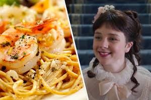 "Seafood pasta and Eloise Bridgerton from ""Bridgerton"""