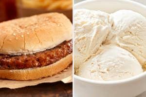 一个普通的汉堡包和香草冰淇淋