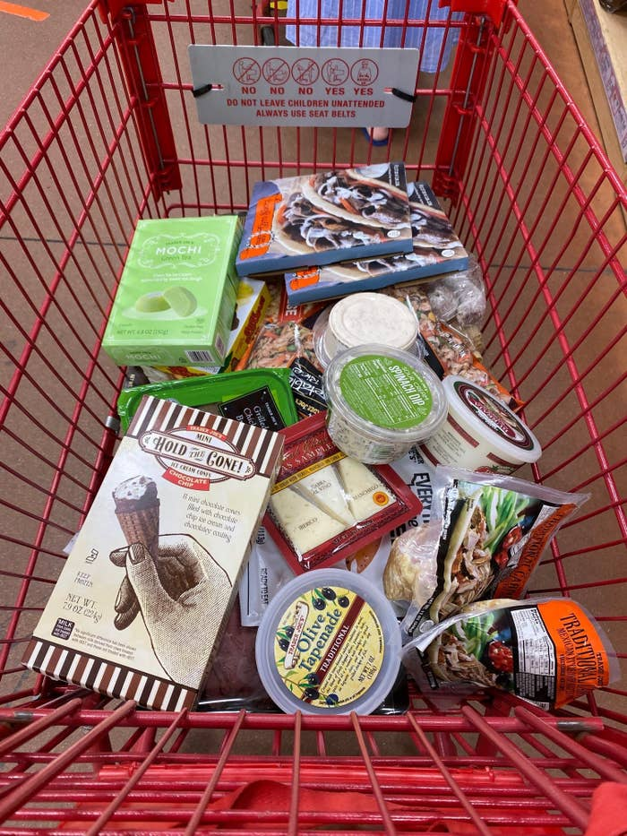 A cart filled with Trader Joe's products