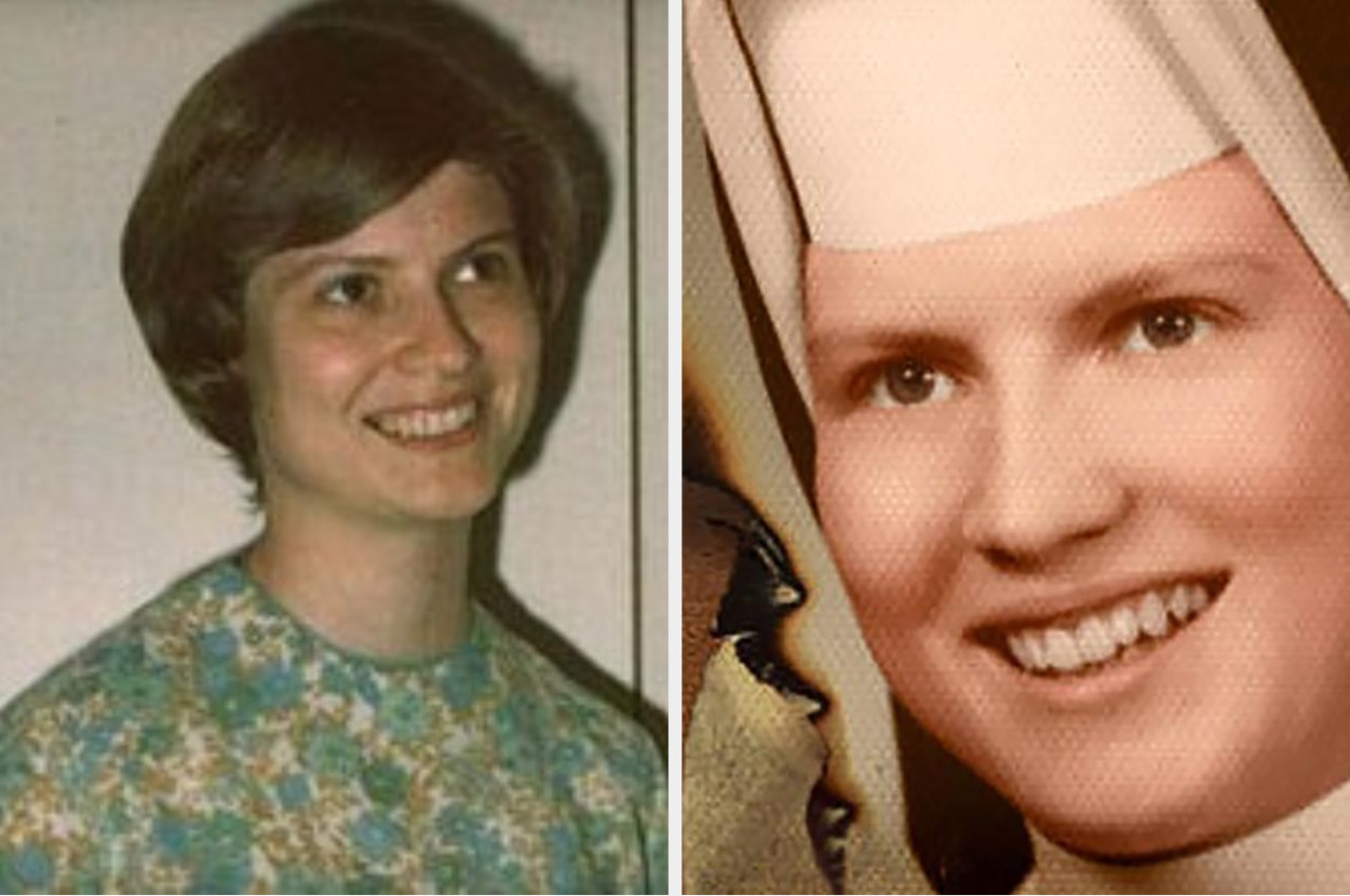 Catherine Cesnik before her murder smiling in plain civilian clothes and then in a nun habit