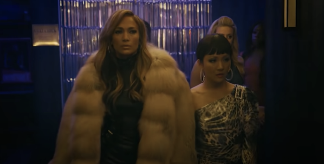 "Jennifer Lopez wearing a fur coat in ""Hustlers"""