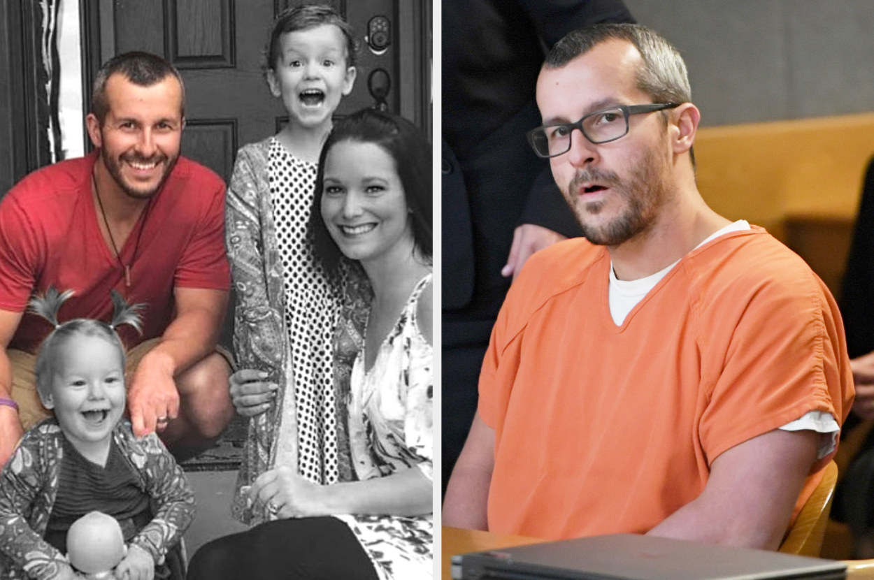 Christopher Lee Watts with his now-deceased family and then him in a courtroom on trial