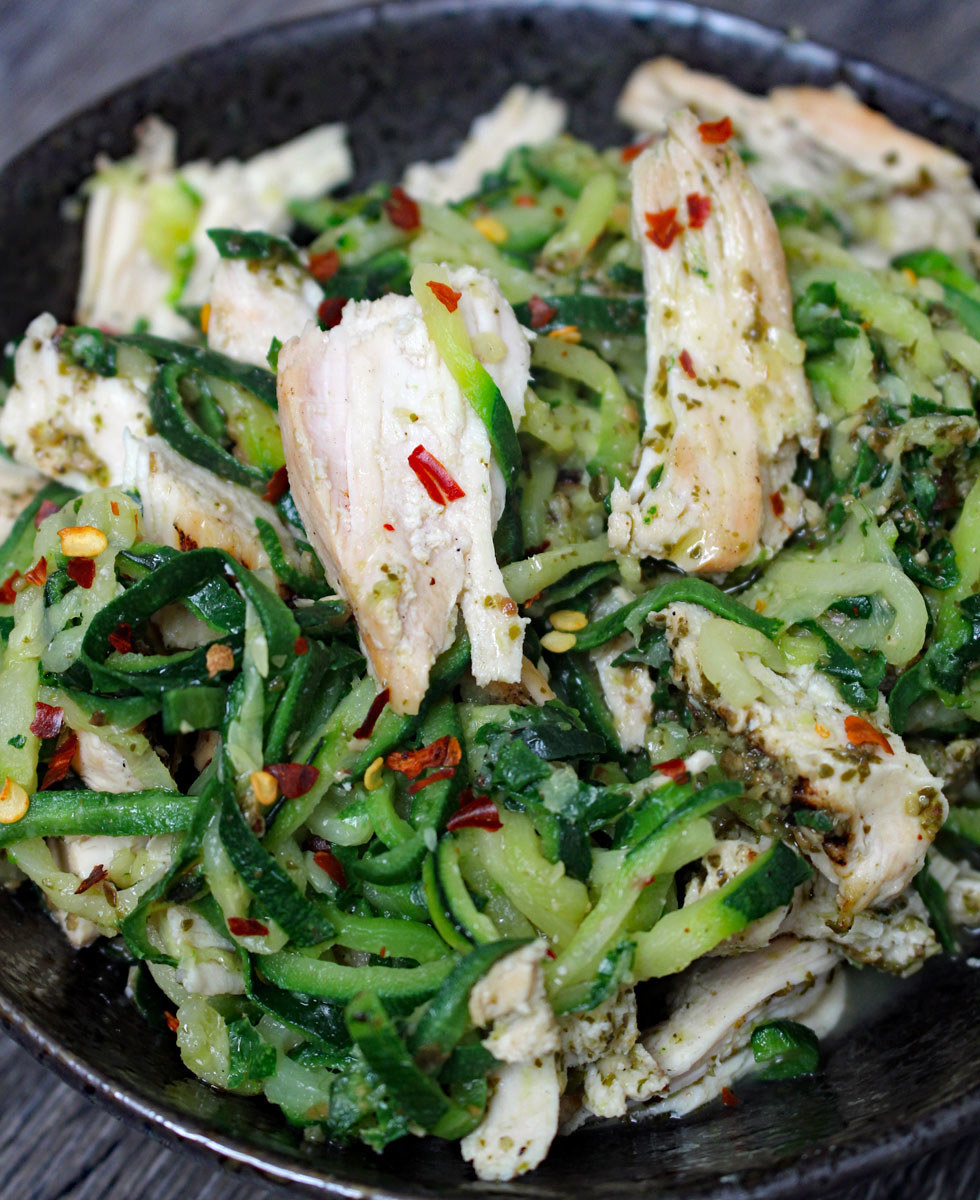 Zucchini noodles with grilled chicken.