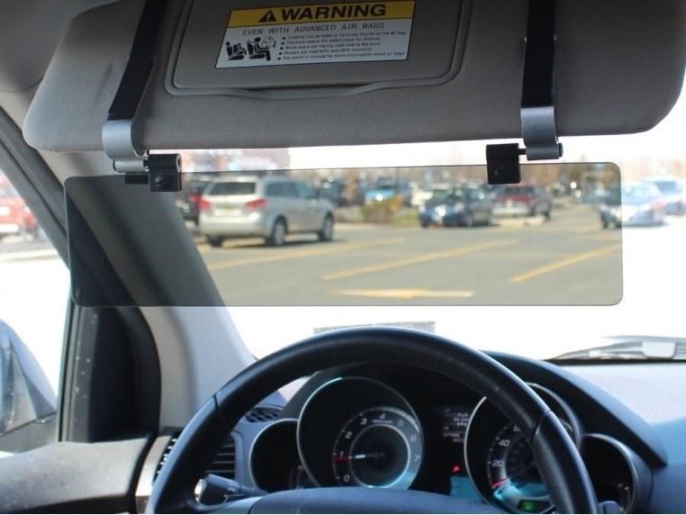 polarized visor clipped on to regular car visor