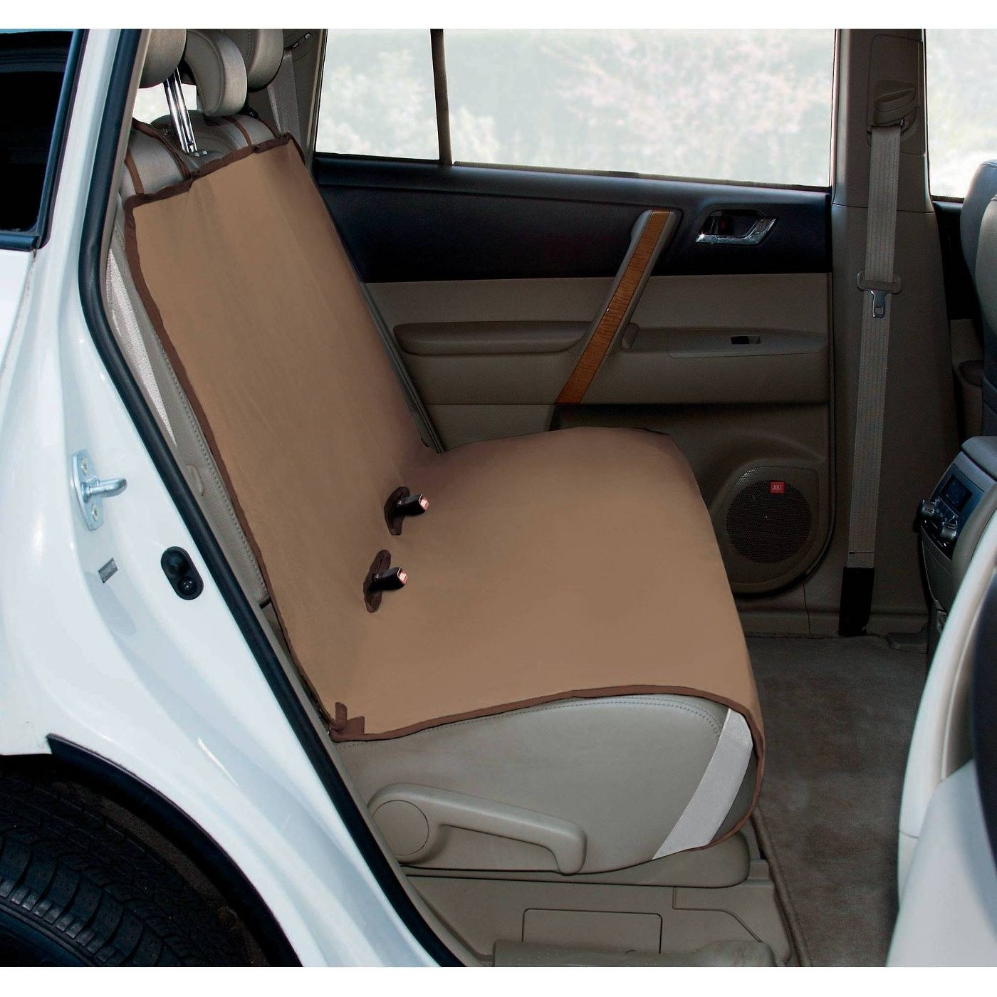 The seat cover in tan