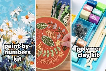 paint by numbers kit, embroidery it, polymer clay kit