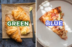 """On the left, two buttery croissants on a napkin labeled """"green,"""" and on the right, a slice of pizza on a plate labeled """"blue"""""""