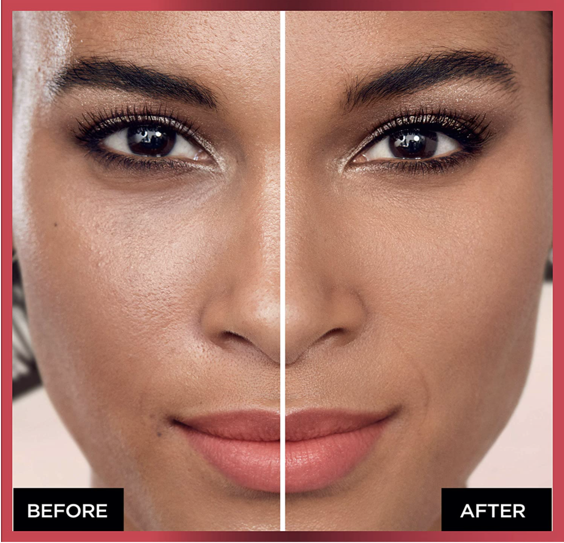 Before and after of someone with the powder foundation