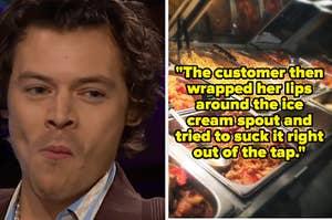 Harry Styles looking unsure; a buffet