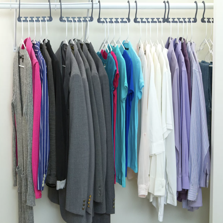 Hangers expanded on closet rod