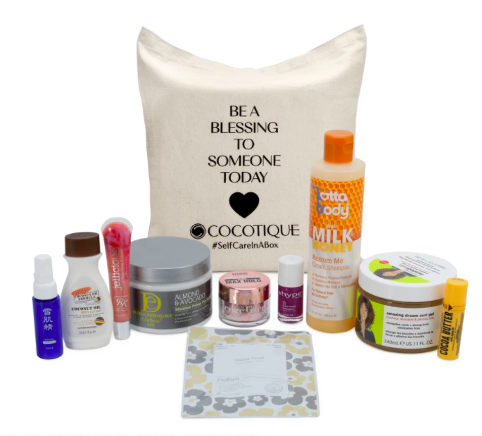 """edge fixer, coco butter, lip gloss, nail polish, and a bag that reads """"be a blessing to someone today"""""""