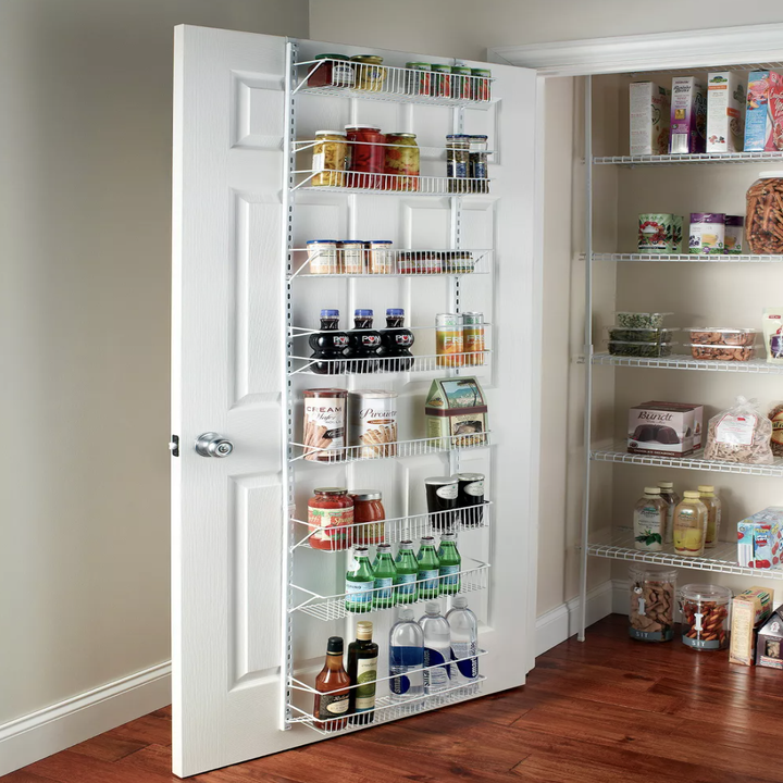 Organizing rack placed over pantry door