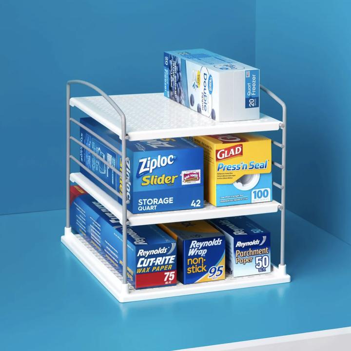 Storage shelf with items placed inside
