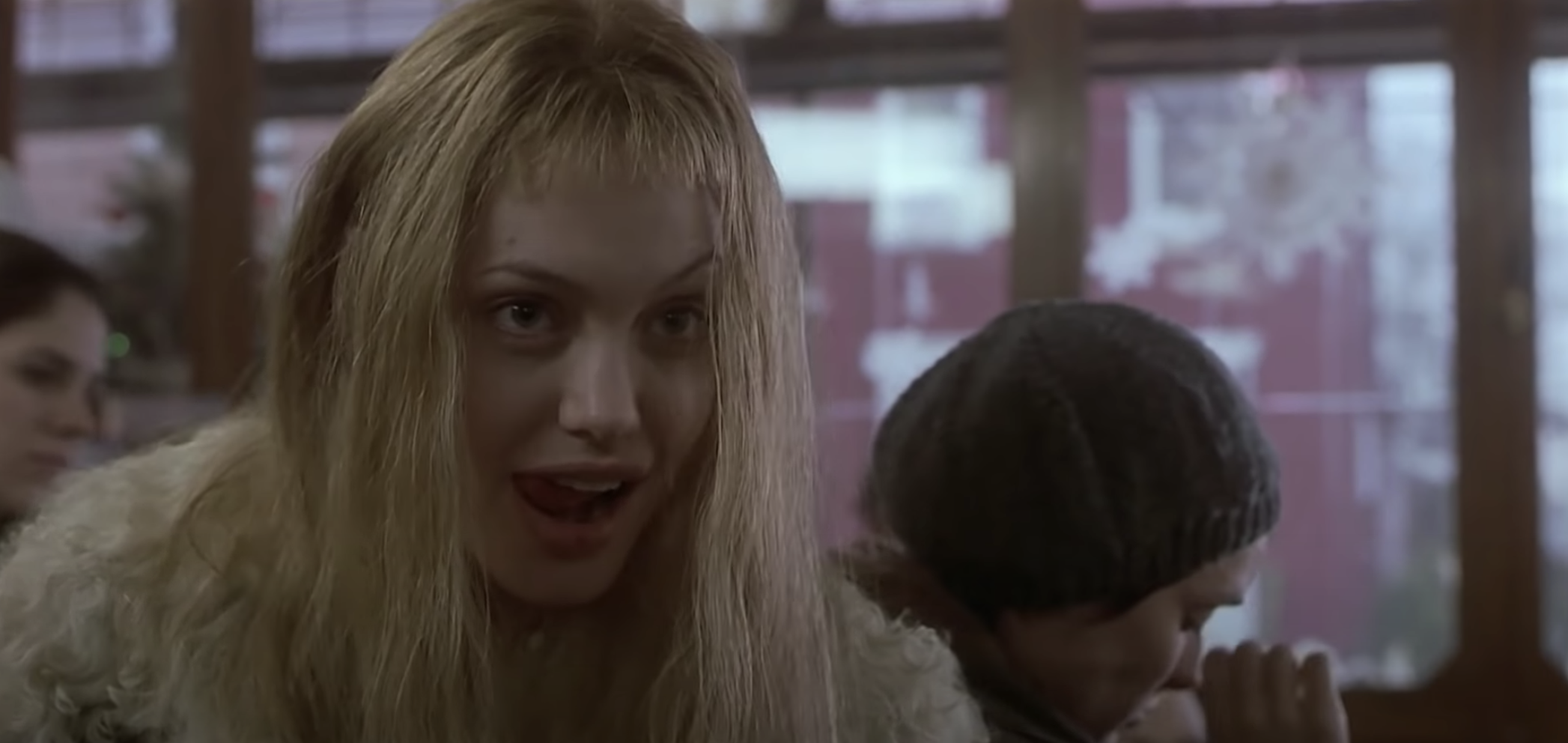 Angelina Joile with extremely short bangs