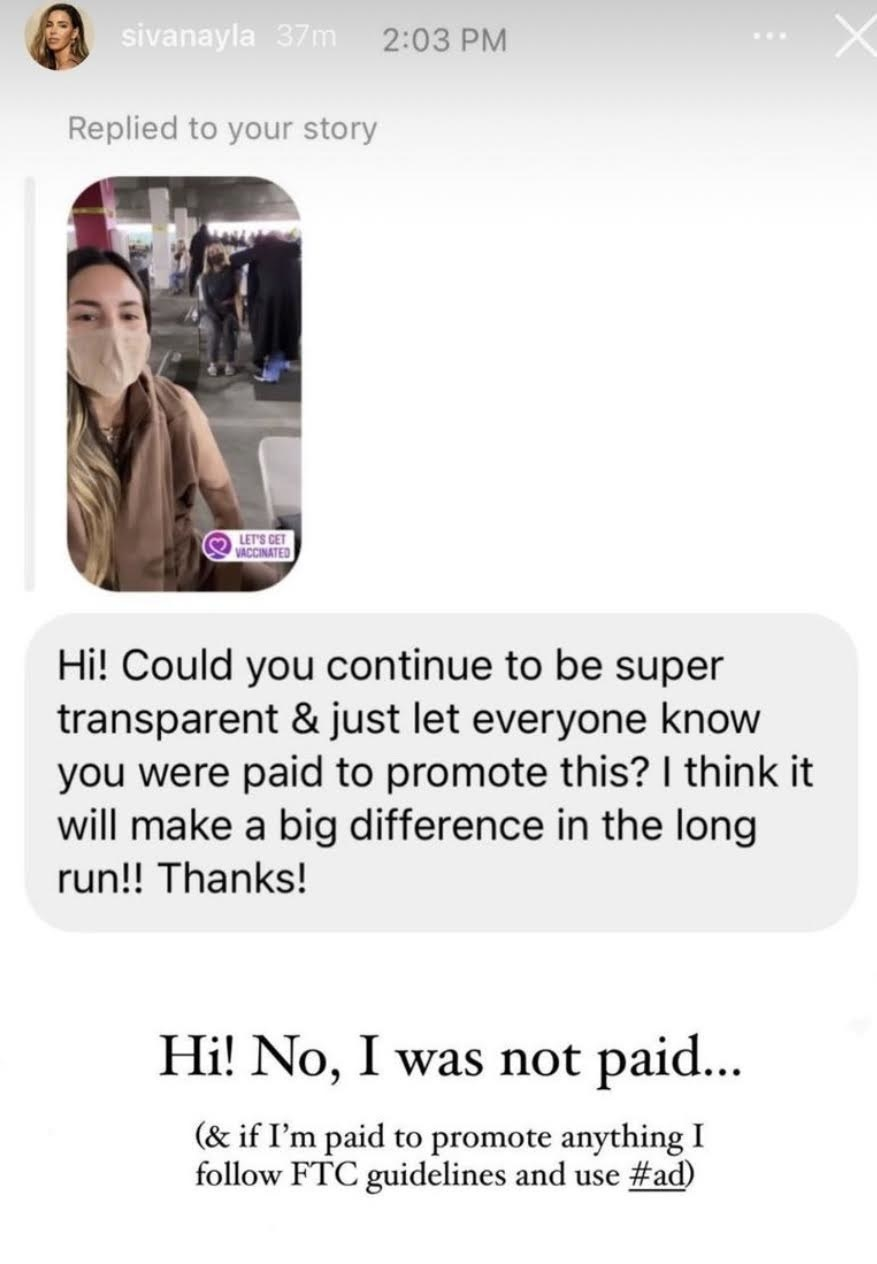 "Sivan Ayla responds ""No, I was not paid... (and if I'm paid to promote anything I follow FTC guidelines and use #ad)"" to a DM about her vaccine selfie"