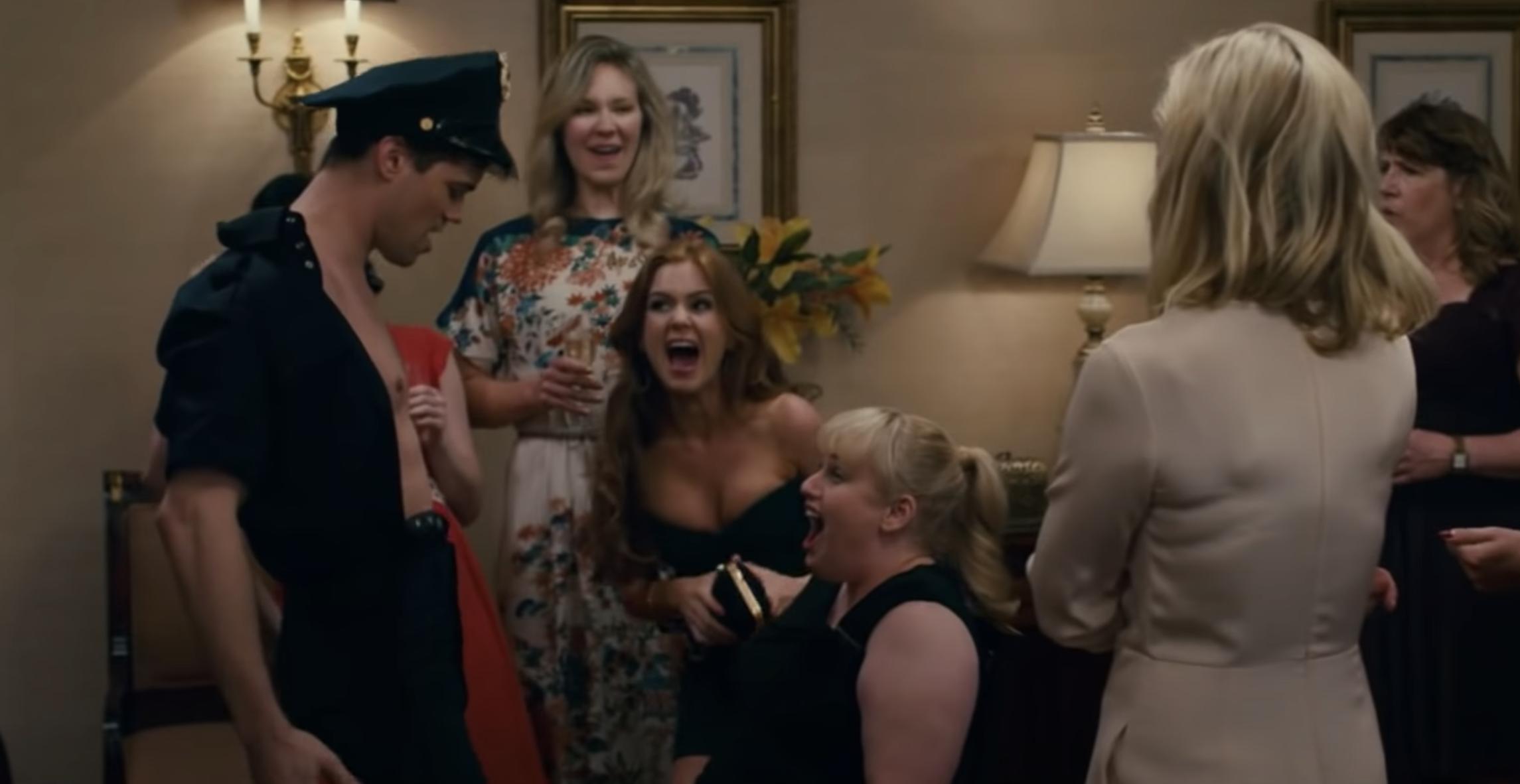 "Rebel Wilson getting a lap dance in the movie ""Bachelorette"""
