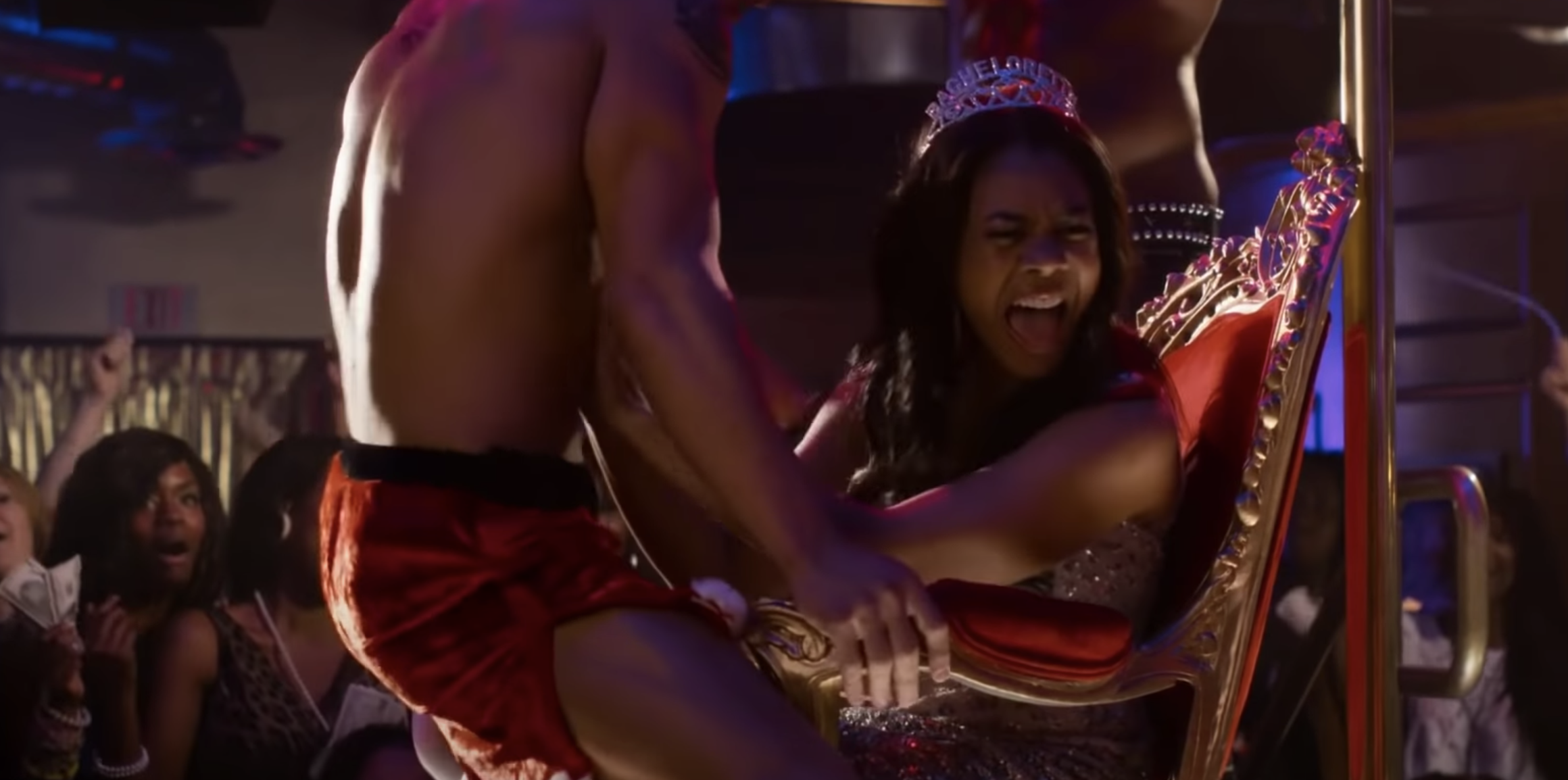 "Regina Hall and a stripper in ""Think Like a Man"""