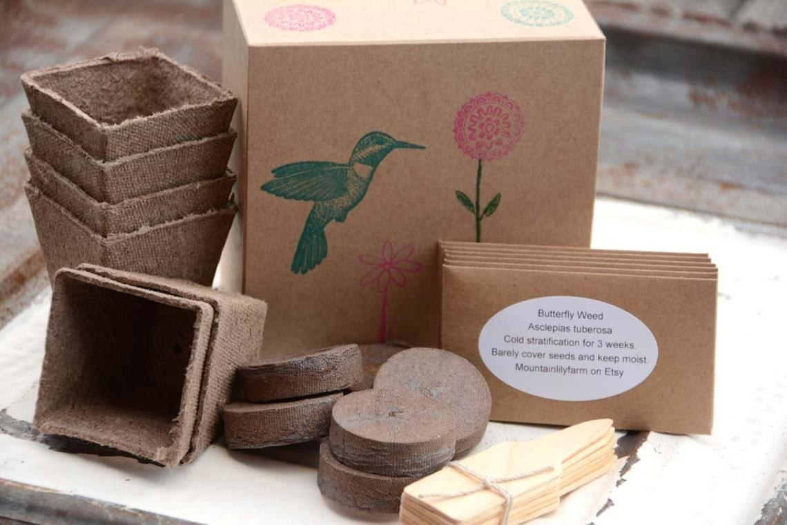 cardboard box with hummingbird on it next to biodegradable pots, markers, and seeds