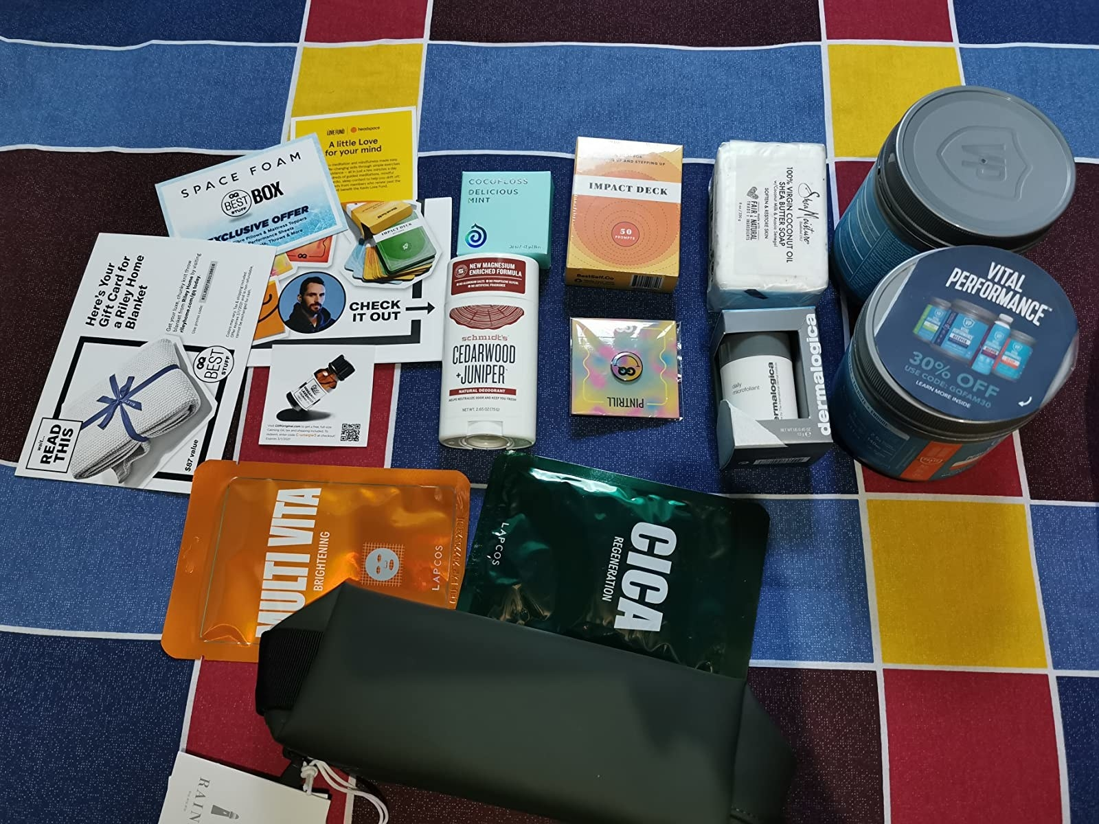 a reviewer photo of what comes in the subscription box