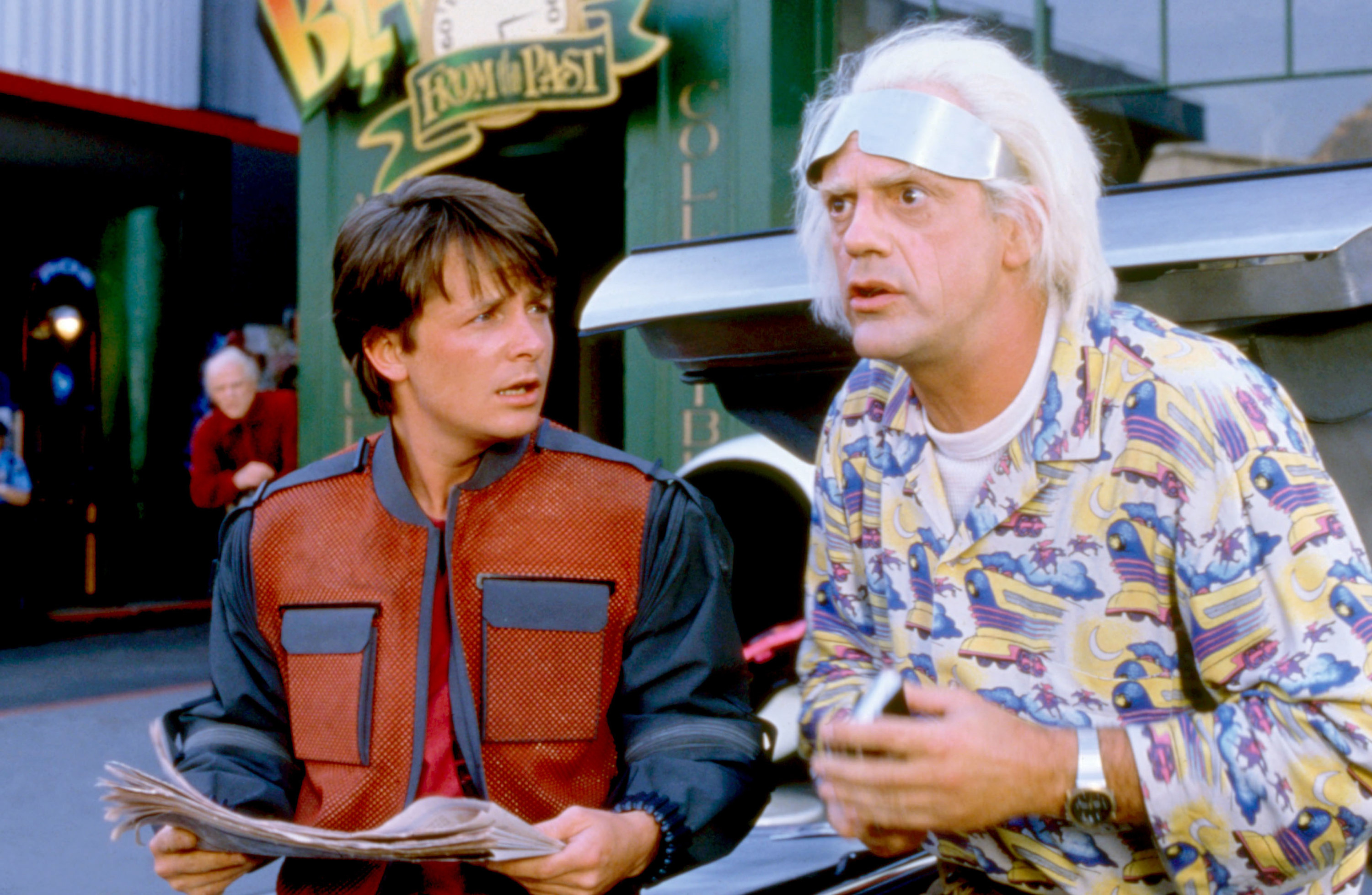 Michael J Fox and Christopher Lloyd in Back to the Future