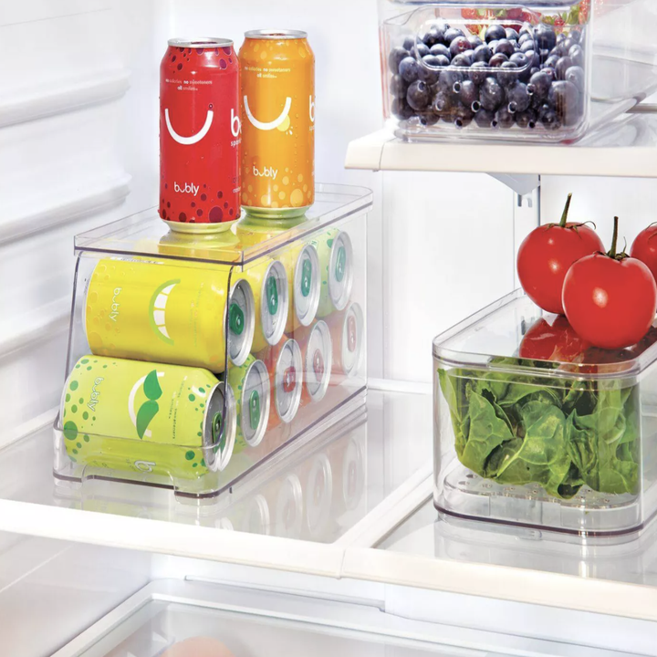 Can organizer with cans inside and placed in fridge