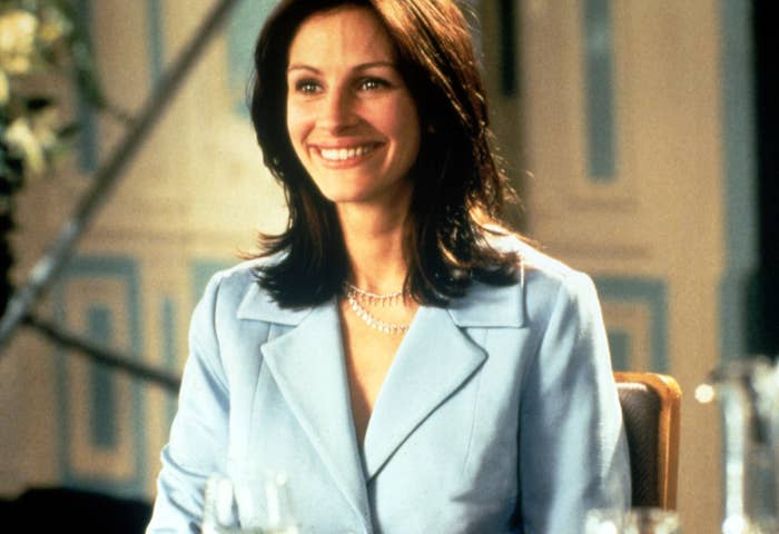 Julia Roberts smiles in a scene from Notting Hill