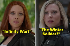 "Scarlett Johansson as Natasha Romanoff in the movie ""Captain America: The Winter Solider"" and Scarlett Johansson as Natasha Romanoff in the movie ""Avengers: Infinity War."""