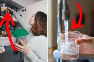 一个女人把手伸进碗柜,一只手在倒水