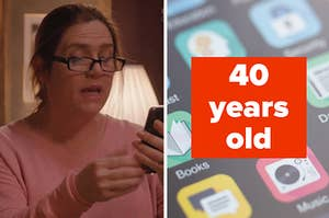 """Woman on her phone, next to apps on a phone and the text """"40 years old"""""""