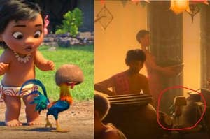 """Hei Hei from """"Moana"""" appearing in the background of """"Raya and the Last Dragon"""""""