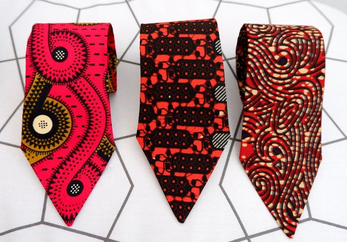three ankara printed ties
