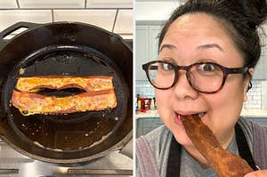 Plant-based bacon sizzling in a skillet, and me taste-testing one strip