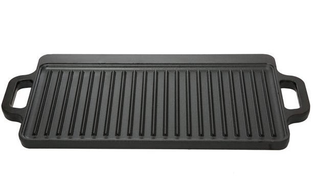 The griddle, which is rectangular, has a handle at either end, and has a griddle side and a flat side