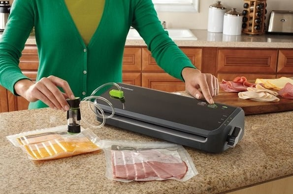 The sealer, which sit on the countertop