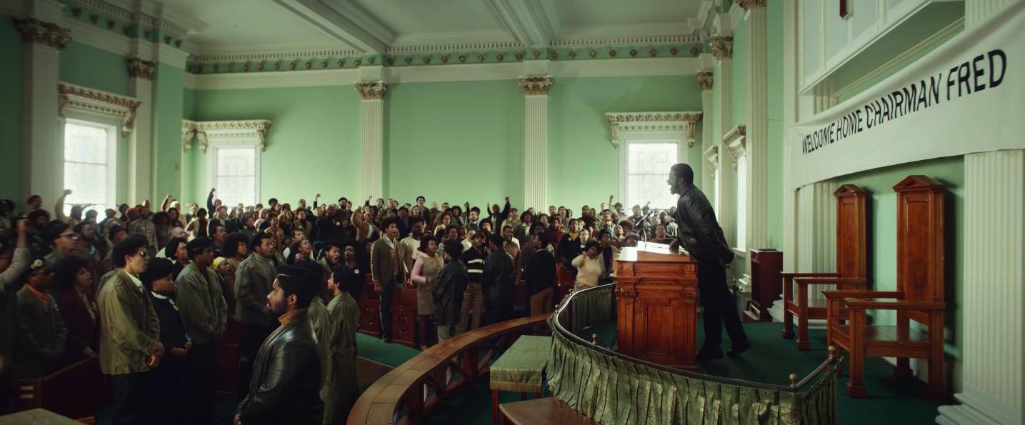 "Daniel Kaluuya addressing a crowd in ""Judas and the Black Messiah"""
