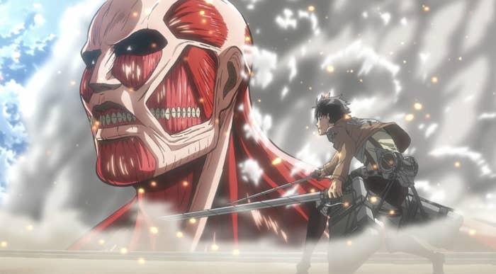 Eren facing the colossal titan