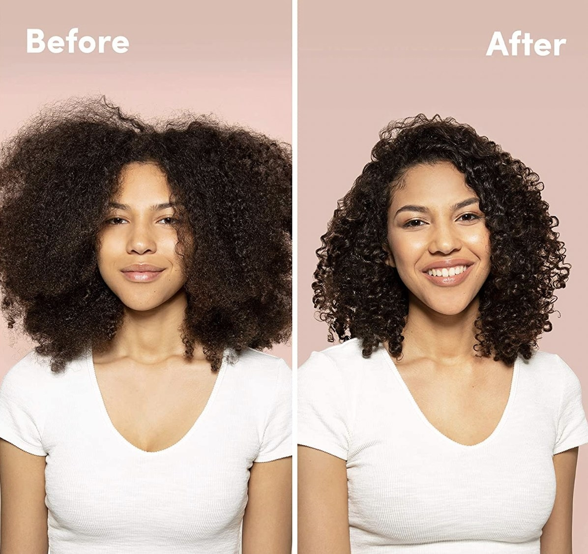 A woman showing before and after images of her curly hair