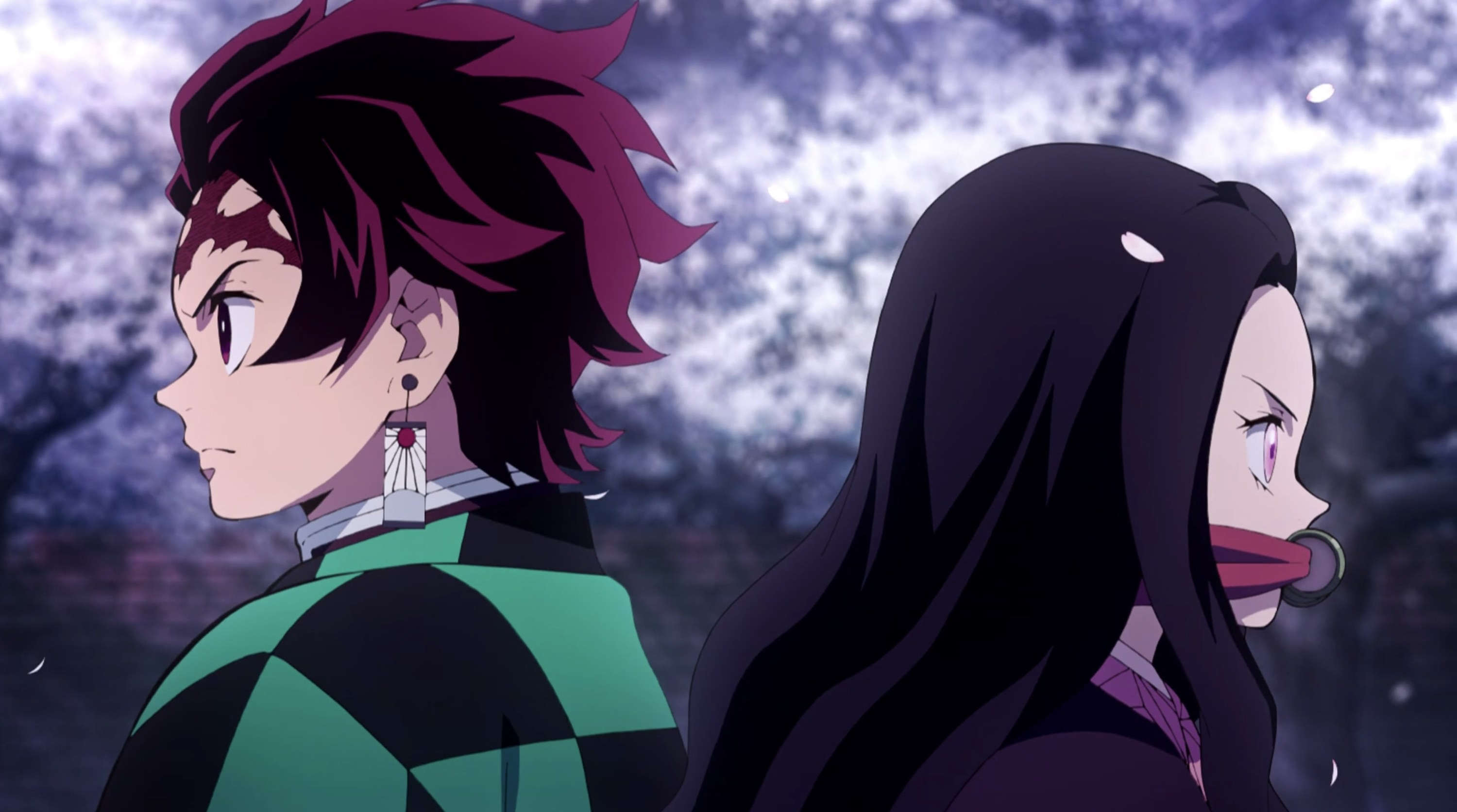 Tanjiro and Nezuko with their backs to each other, fiercely looking into the distance