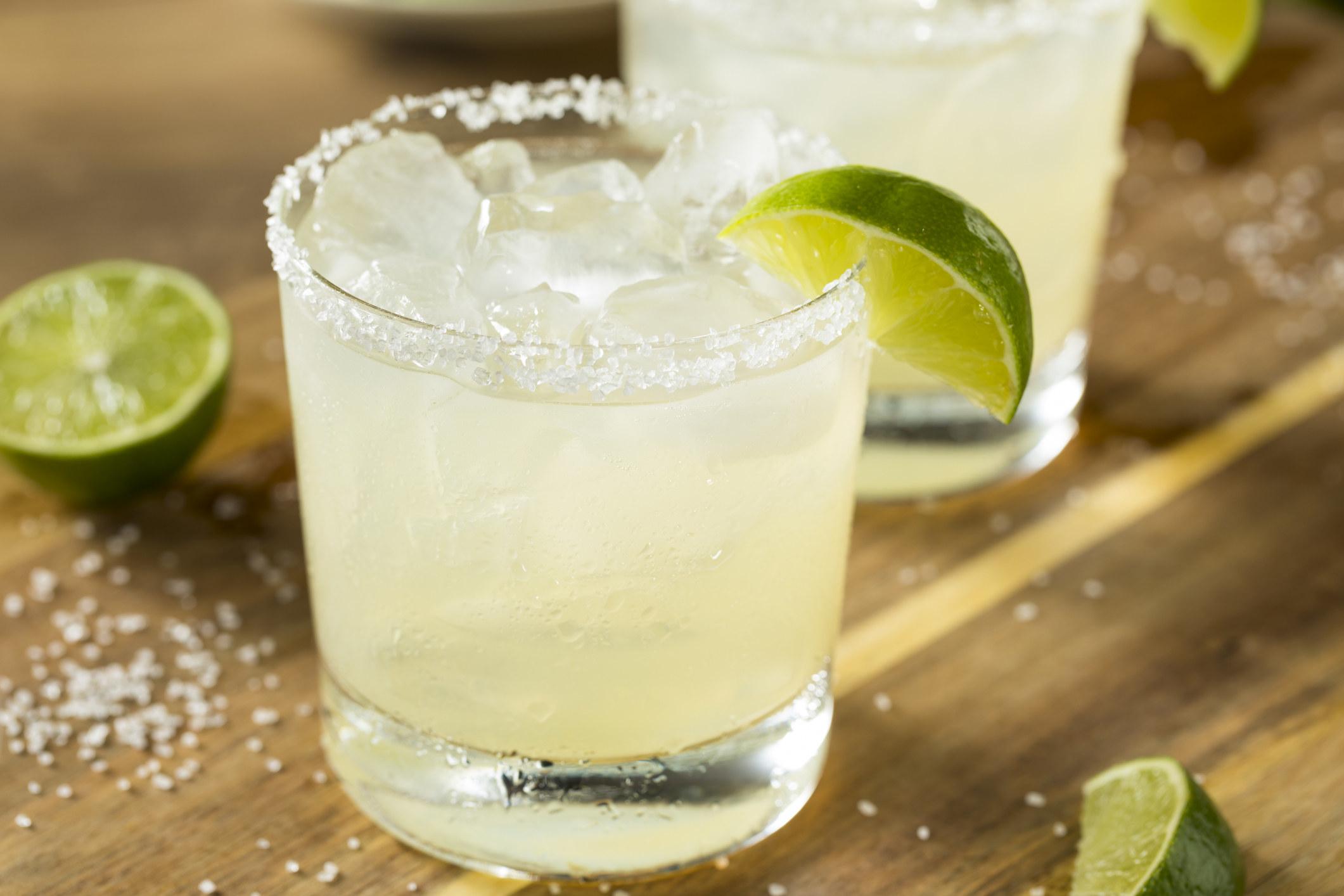 A Margarita with a salt rim.