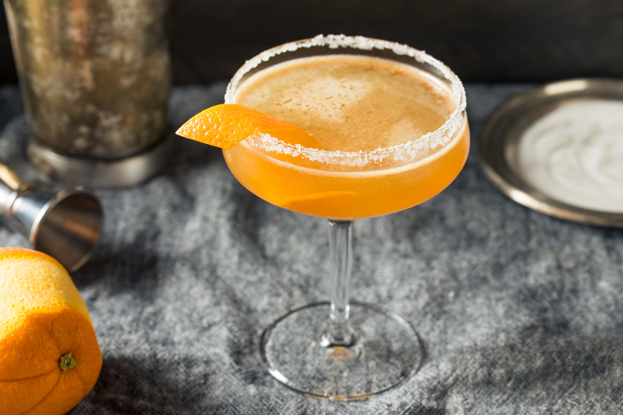 A Sidecar cocktail in a coupe glass.
